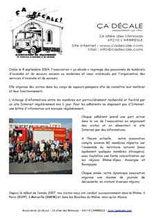 document de présentation de l'association CA DECALE